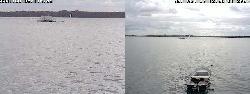 Blick über den See von der Wetterstation, die sich etwa 300 m vom Nordende des Sees entfernt befindet.