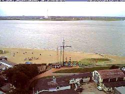Blick vom Radarturm am Hafen über den Fluss