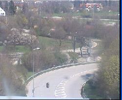 Blick vom Verwaltungsgebäude auf das Prinzregententheater
