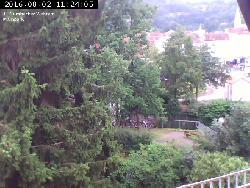 1. Kulmbacher Webcam - mit Blick über den Mainkanal zur Stadthalle und zum Zentralparkplatz